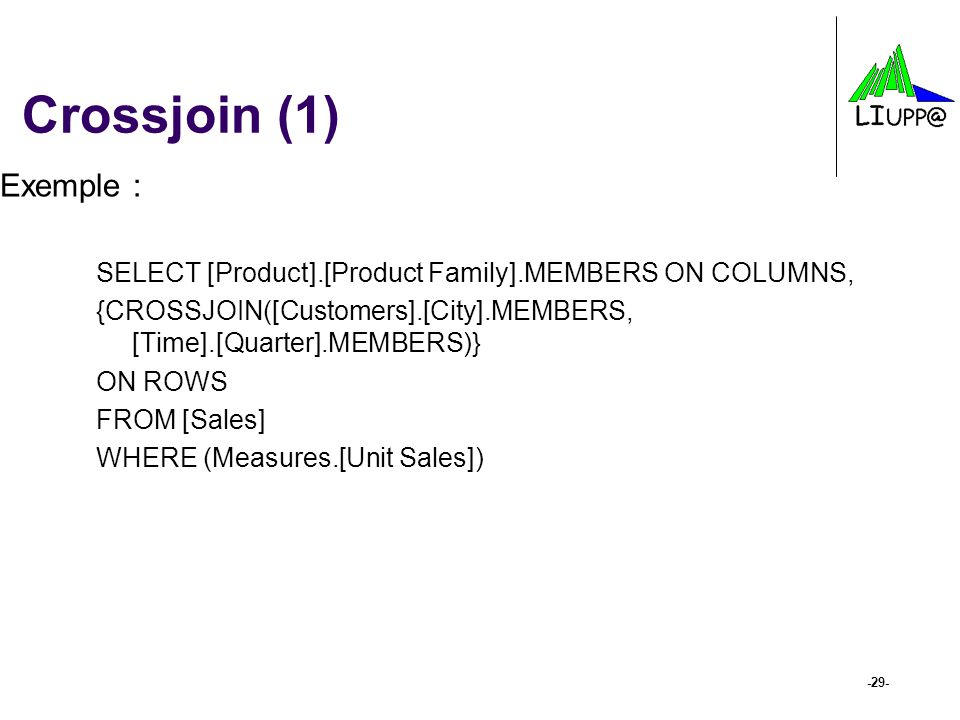 Crossjoin (1) Exemple : SELECT [Product].[Product Family].MEMBERS ON COLUMNS, {CROSSJOIN([Customers].[City].MEMBERS, [Time].[Quarter].MEMBERS)}